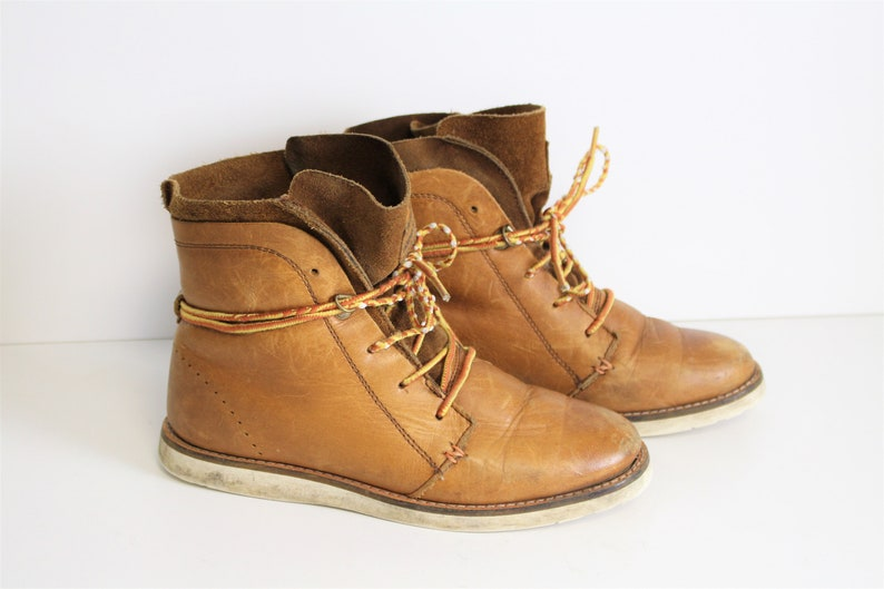 7dc1d9babe0 Brown Leather Chukka Boots HUB Women Lace up Ankle Combat Boots Round Toe  Walking Boots Size eur 38 us 7 uk 5 24 cm