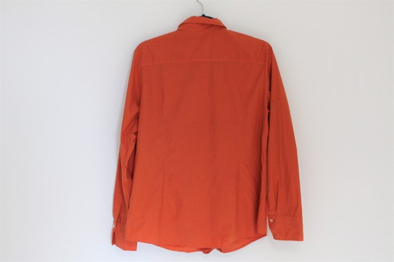 Orange Frill Blouse  80s  Frill Collar Blouse Fit… - image 2