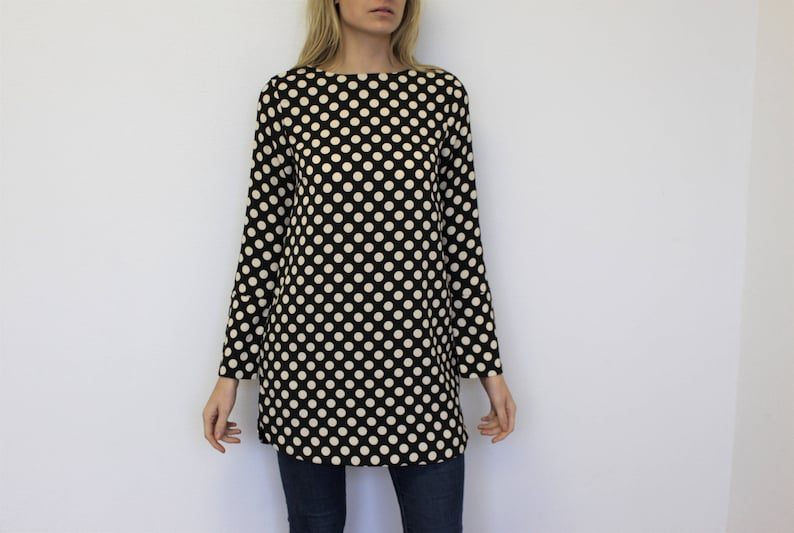 e5ba78e1e75c Polka Dot Tunic Black White Big Dots Dress Dark Grey Oversized | Etsy