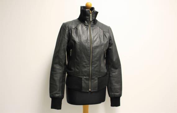 Ladies Leather Bomber Jacket Black Biker Genuine Leather Etsy