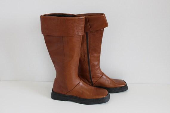 coupe classique 7d017 10fc3 Brun cuir bottes Camel marron mi mollet bottes femmes genou Bottes souple  Tan Brown plat bottes Hippie Boho Festival Eur 37 (EUR) 6.5 (US)