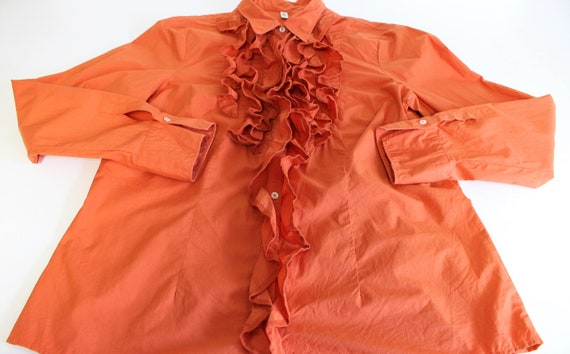 Orange Frill Blouse  80s  Frill Collar Blouse Fit… - image 4