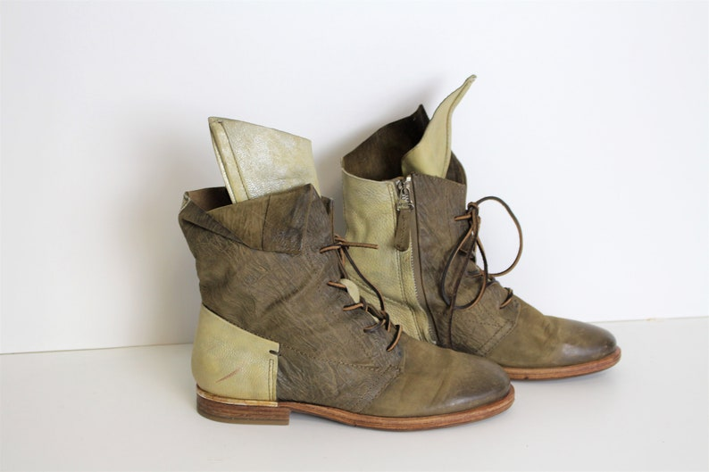 best service 7211c 1a531 Gray Combat Boots AIRSTEP Mixed Leather Lace up Ankle Boots Chukka Boots  Khaki Beige Leather Military Boot Size (W) Us 8 , Eur 40, UK 6,5