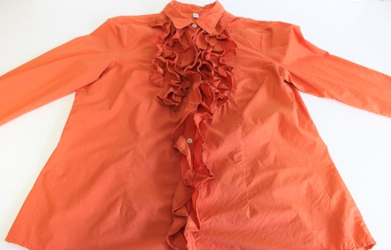 Orange Frill Blouse  80s  Frill Collar Blouse Fit… - image 3