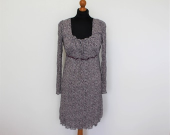 Gray Dirndl Dress Boho Hippie Gray Purple Peasant Tunic Dress  Folk Style  Ampire Waist Feminine long Sleeve Medium to Large Size