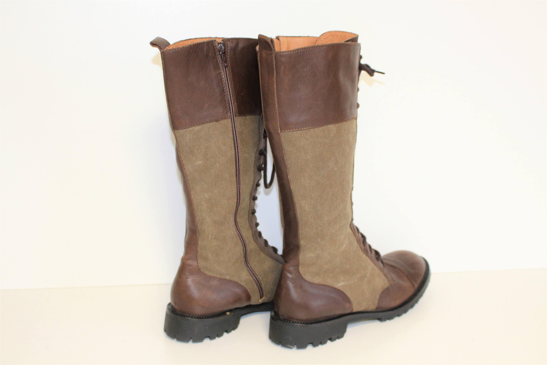 Marrón cuero Riding  botas botas botas  NOA NOA Canvas cuero Lace up  botas  Knee High Granny  botas  Jodie  botas  Antique Marrón Us 10.5  Eur 41  UK 7.5 a1b2bf