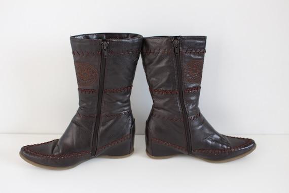 36 Stiefel Punziert Us Keil Uk Braun Boots 3 5 Eu Bestickt Boho Festival 5 5 Leder Hippie Damen Western Vintage Mokassin TPkiuOXZ