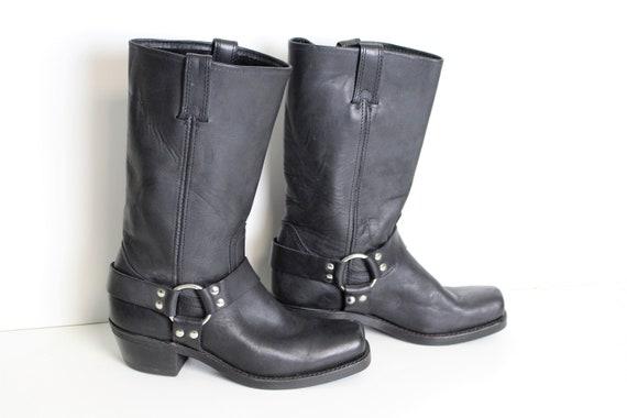 Black Leather Biker Boots FRYE Women