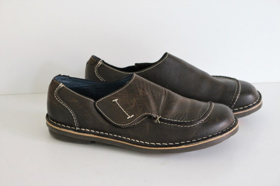 Brown Loafers Womens Brown Leather Moccasins Walking Shoes Dark brown leather Slippers Brown Slip On Shoes Eur 40, Us 9, Uk 7