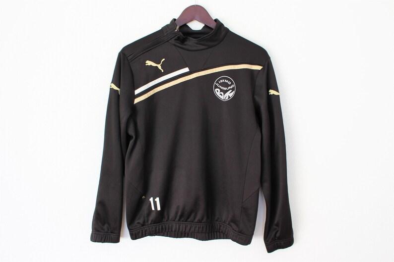 pretty nice bea16 7dbac Vintage PUMA Sweater Retro Puma Jacket Black gold Sports Anorak Half ziped  Football shirt Anorak Small to Medium