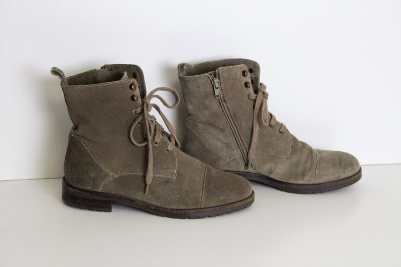 8a1ecf5f23d15 Gray Leather Ankle Boots Grey Suede Boots Chukka Boots Women