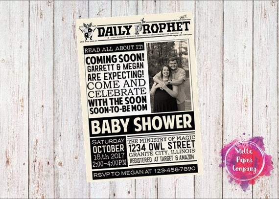 Daily Prorok Harry Potter Gazeta Baby Shower Zaproszenia Etsy