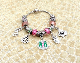dbe8f1820 Alpha Kappa Alpha Pandora Inspired Bracelet, AKA Sorority Bracelet, Charm  Bracelet, AKA Bracelet, Sorority Bracelet, AKA Jewelry