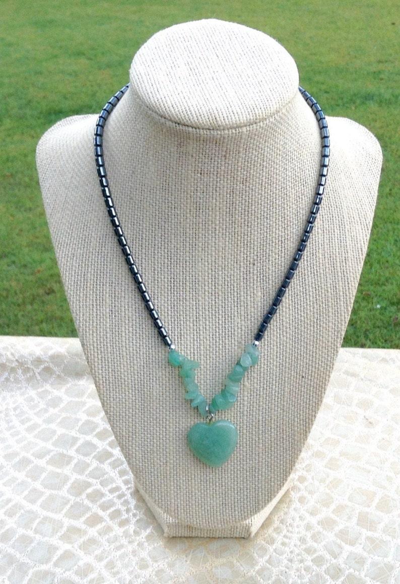 Hematite Chip Gemstone Heart Necklace Women Heart Pendant Necklace Hematite Necklace Hematite Jewelry Valentine Gift Mother/'s Day Gift
