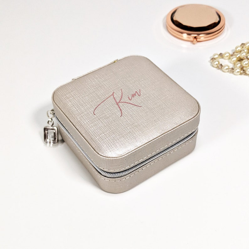 Personalised Jewellery Box Travel Case Silver Rose Gold Ring Holder Mirror Bridesmaid Gift For Her