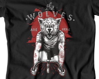 WOMENS CYCLIST SHIRT Wolf riding bicycle t-shirt Womens bicycle shirt The wolves are here Hipster bicycle shirt Hipster cycling APV185