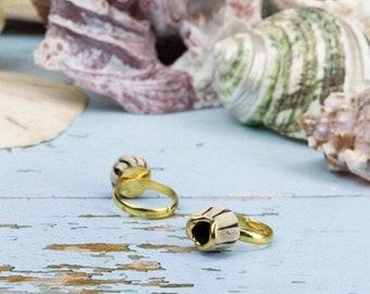 Barnacle ring, Ceramic Ring, Adjustable Gold Ring, Pirate Ring, Mermaid Ring, Ocean Ring, Nautical Ring