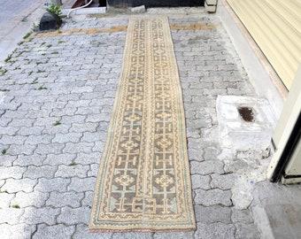 Turkish Brown Runner, Oushak Rug, Decorative Hallway Rug, Anatolian Rug, Wool Rug, 11.6''x2.0'' Ft,