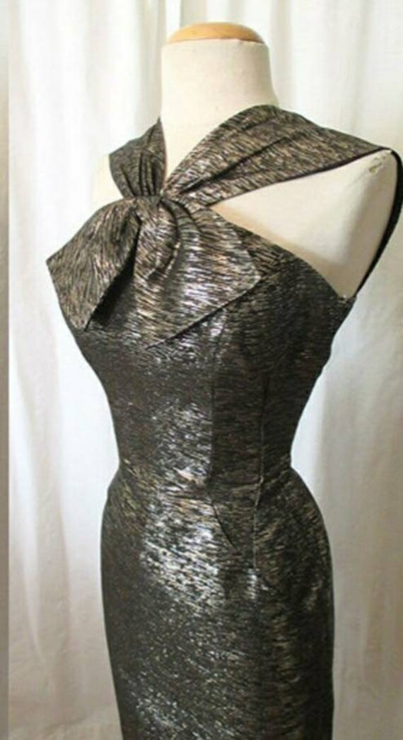 1950s Gold,Silver, Black Lurex Cocktail Party Dres