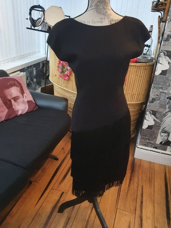 Black Fringe 1960s Wiggle Dress Rayon Crepe