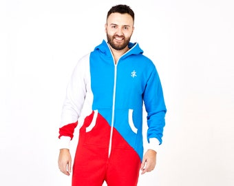 Adult Onesie Pajamas - Full Length Lounger with Zipper, mens onesie, hooded embroidery, plus size tricolor unisex adult overall Europe