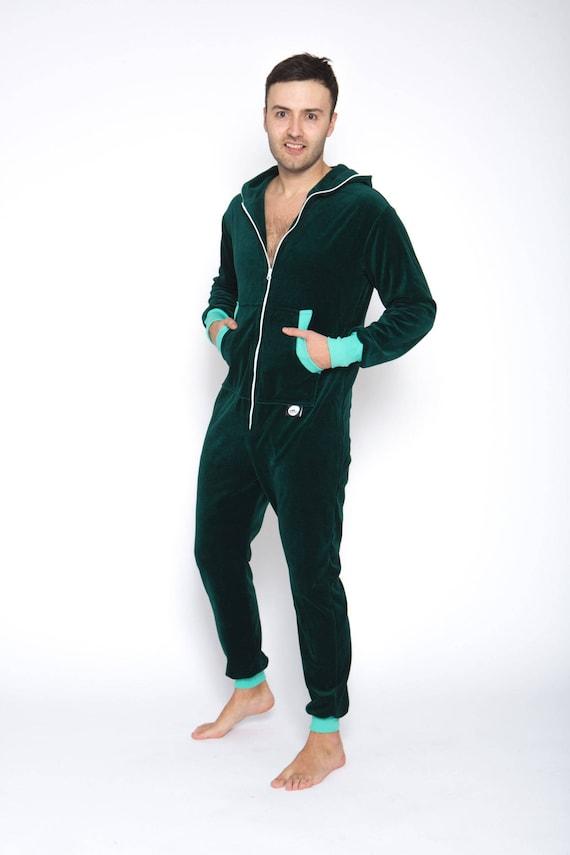Adult Onesie Emerald Green Velours Unisex Adult Onesie Hooded Pyjamas Men Jumpsuits Adult Overall Festival Clothing Summer Onepiece