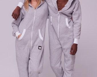 Sofa Killer light grey Unisex adult onesie, hooded pyjamas, baggy cotton jumpsuit, comfy clothing, festival clothing, adult onepiece onesies
