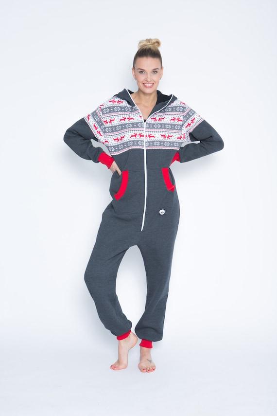 Christmas Onesie.Adult Onesie Pajamas Womens Onesie Dark Grey Unisex Onesie Christmas Onesies Festival Onesie Plus Size Onesie With Deer Print Noridic