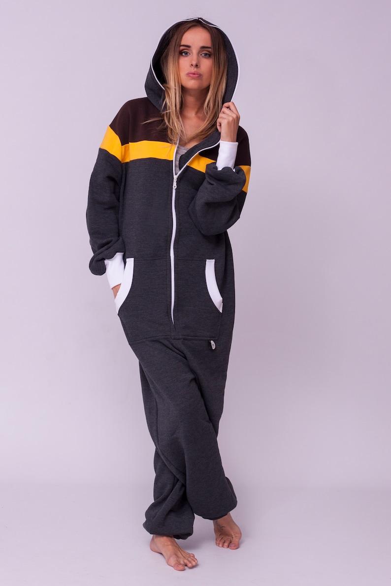 9fda990a2540 Adult onesie grey striped unisex overall hooded pyjamas