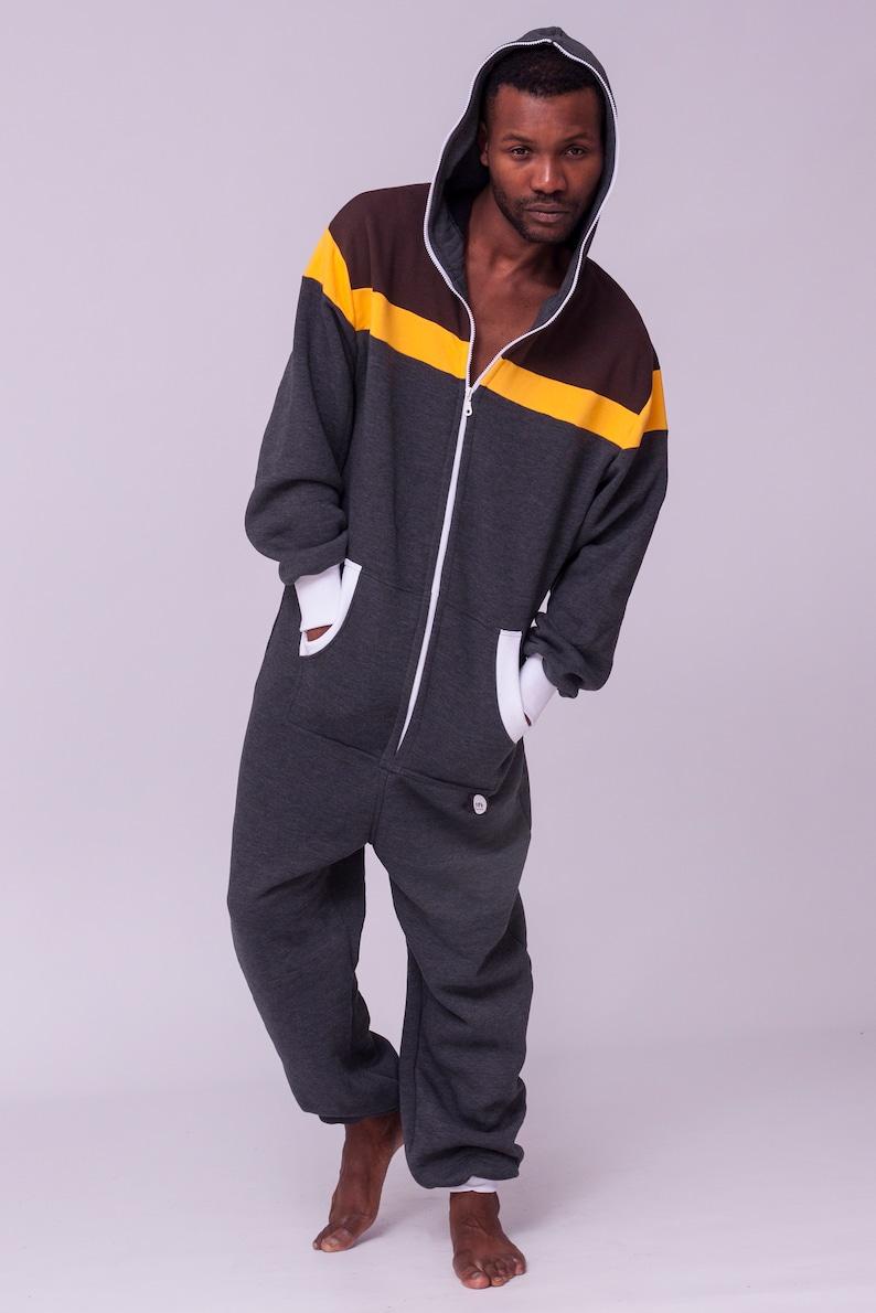 c3aec4d04624 Adult onesie grey striped unisex overall hooded pyjamas