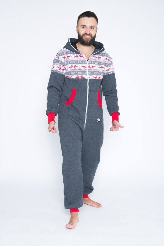 Christmas Onesies.Adult Onesie Mens Onesie Dark Grey Unisex Onesie Christmas Onesies Adult Overall Men Pajamas Plus Size Onesie With Deer Print Noridic