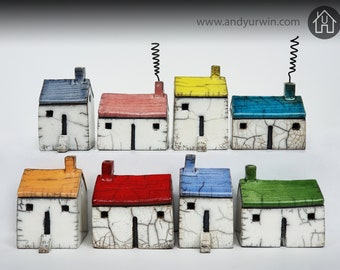 Medium white Raku cottage with colour roof (two shapes available)