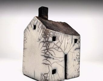handmade ceramic Raku large square house