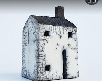 handmade ceramic Raku medium square house