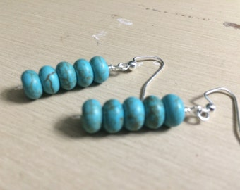 Turquoise Magnesite Rondelle Earrings