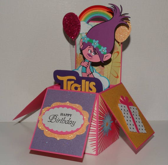 Trolls poppy happy birthday 3d handmade pop up greeting card etsy image 0 m4hsunfo