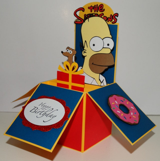 Homer Simpson Happy Birthday 3d Handmade Pop Up Greeting Card Etsy