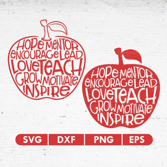 Teacher Apple Quotes Word SVG DXF Silhouette Cameo Cricut Cut | Etsy
