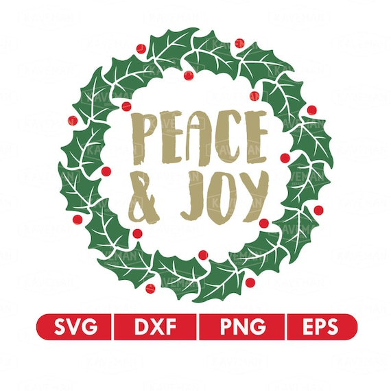 Christmas Wreath Silhouette.Christmas Wreath Peace And Joy Svg Dxf Silhouette Cameo Cricut Cut File
