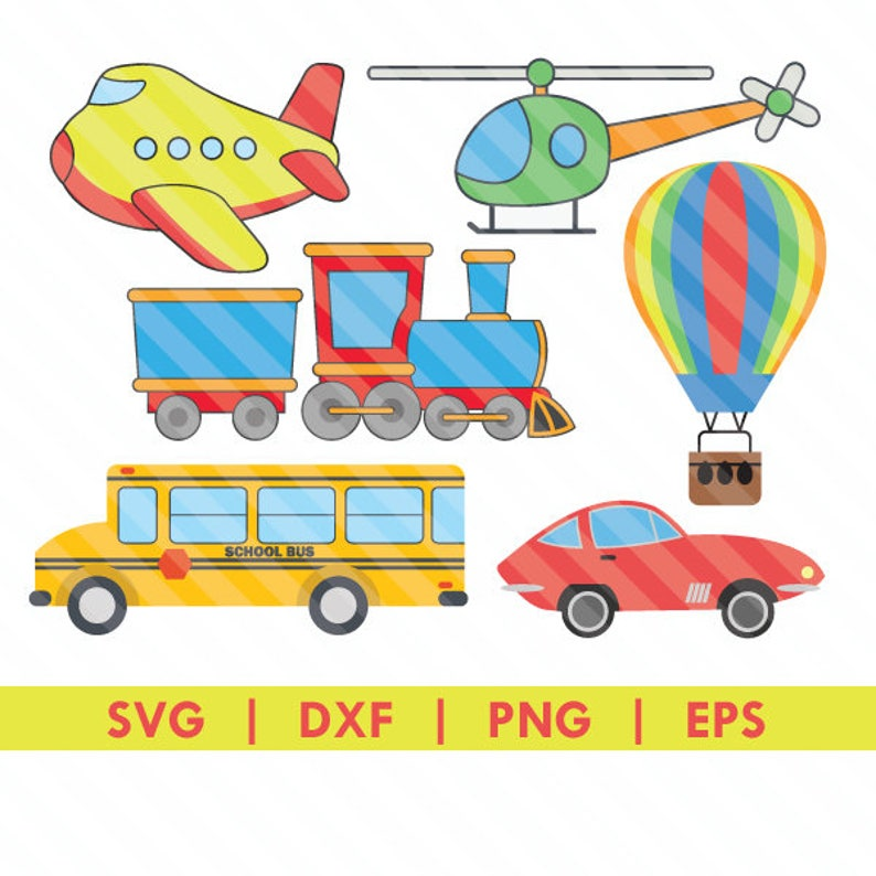 Transportation Pack Airplane Train School Bus Helicopter Car Air Ballon SVG  DXF Silhouette Cameo Cut File