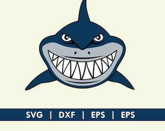 Shark Face Smile Finding Nemo Bruce SVG DXF Silhouette Cameo Cricut Cut File