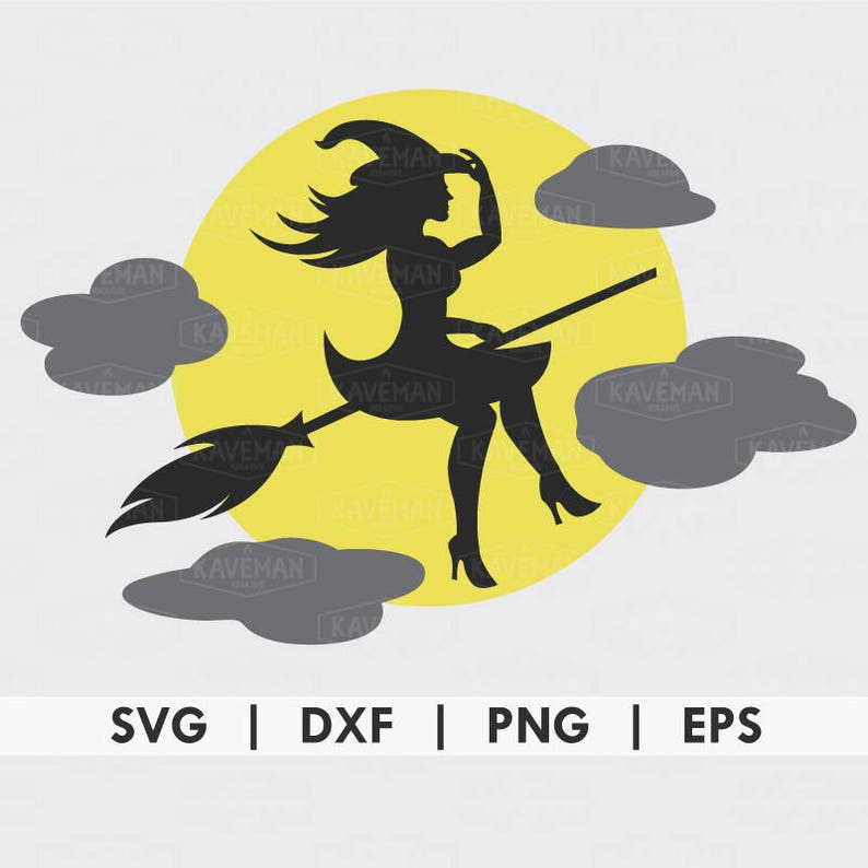 Witch On Broom Halloween Moon SVG DXF Silhouette Cameo Cricut Cut File