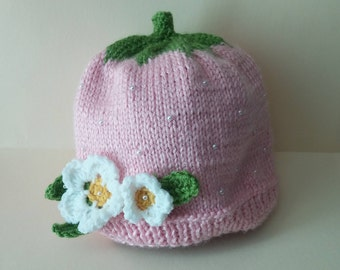 aaee0d59e77 Strawberry Hat with Pearls- Knit Pink Hat with Pearls-Girl Hat with  Flowers-Berry Hat- Knit Berry Hat- Pearl Knits- Pink Girl Hat-Winter Hat