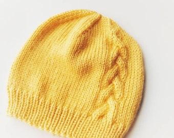 f6a3a2d68c4 Yellow Knit Hat - Braid Knit Hat - Yellow Knit Hat - Baby Girl Knit Hat-  Yellow Beanie Hat