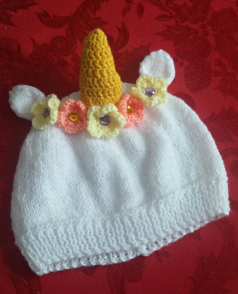 Crochet White Unicorn Hat With Flowers Flower Unicorn Knit Hat Baby Child  Adult Unicorn Hat Flower Crown Halloween Costume