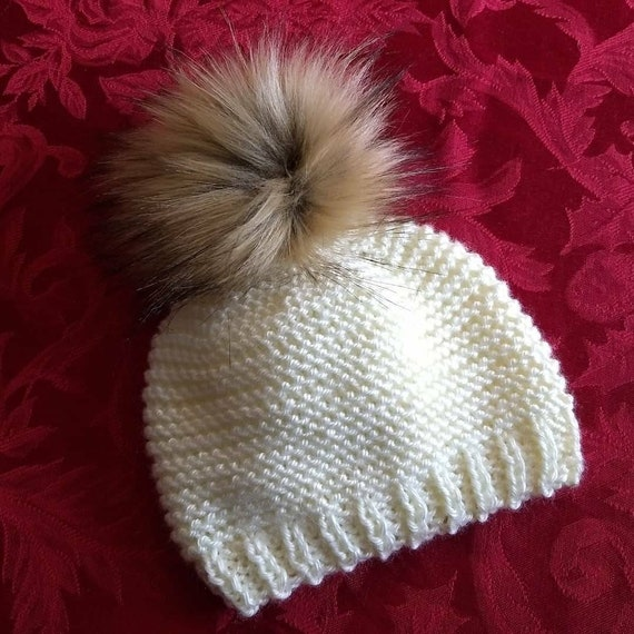 30110a9b5c4f0 Cream Knit Hat. Off White Knit Hat with Faux Fur Pom Pom. Knit