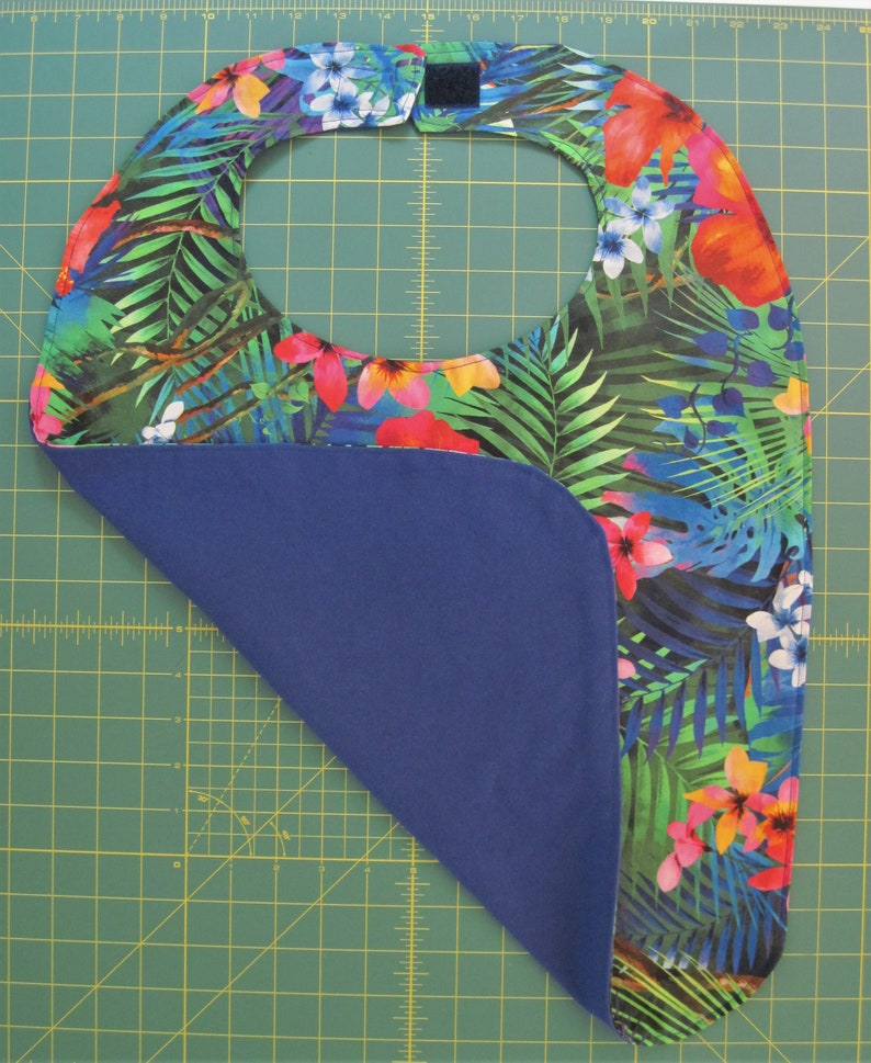 clothes protector Adult bib beautiful and colorful tropical flowers lined with royal blue! nursing home bib fancy bib