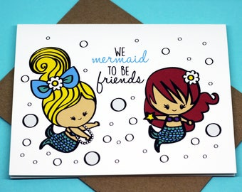 We Mermaid To Be Friends Friendship Mermaid Under The Sea Cute Punny Funny Birthday Just Because Greeting Cards