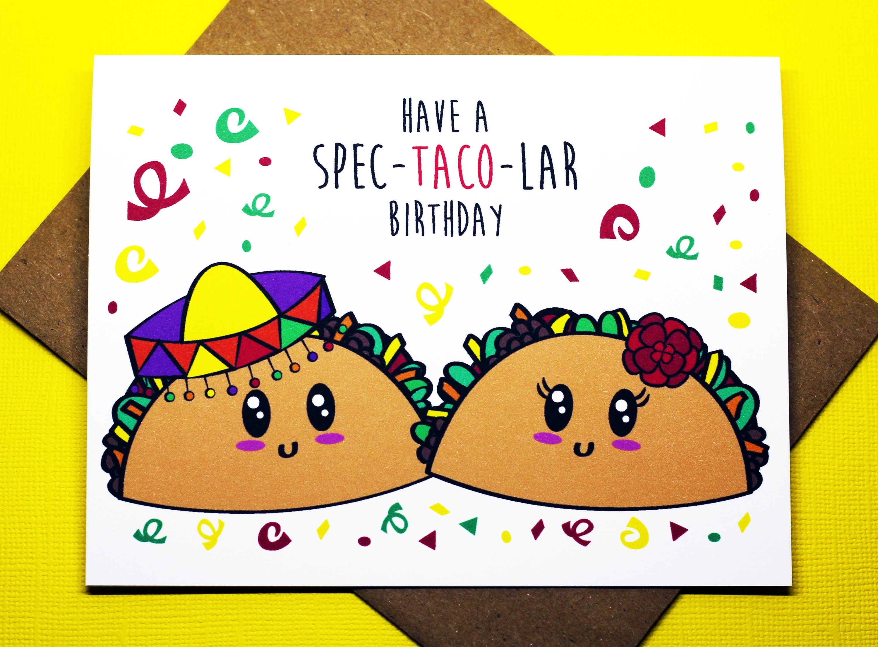 Let Fiesta Taco Nacho Cute Funny Happy Birthday Mexican Etsy Jpg 3000x2214 Card