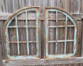 Arched Pair Cathedral Windows, Rustic Gothic Church Window, Primitive Farmhouse Wood Window, Victorian, French, Tuscan, Shabby Wall Decor